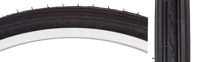 Sunlite Road Tires - Black and Black, 24 x 1-3/8""