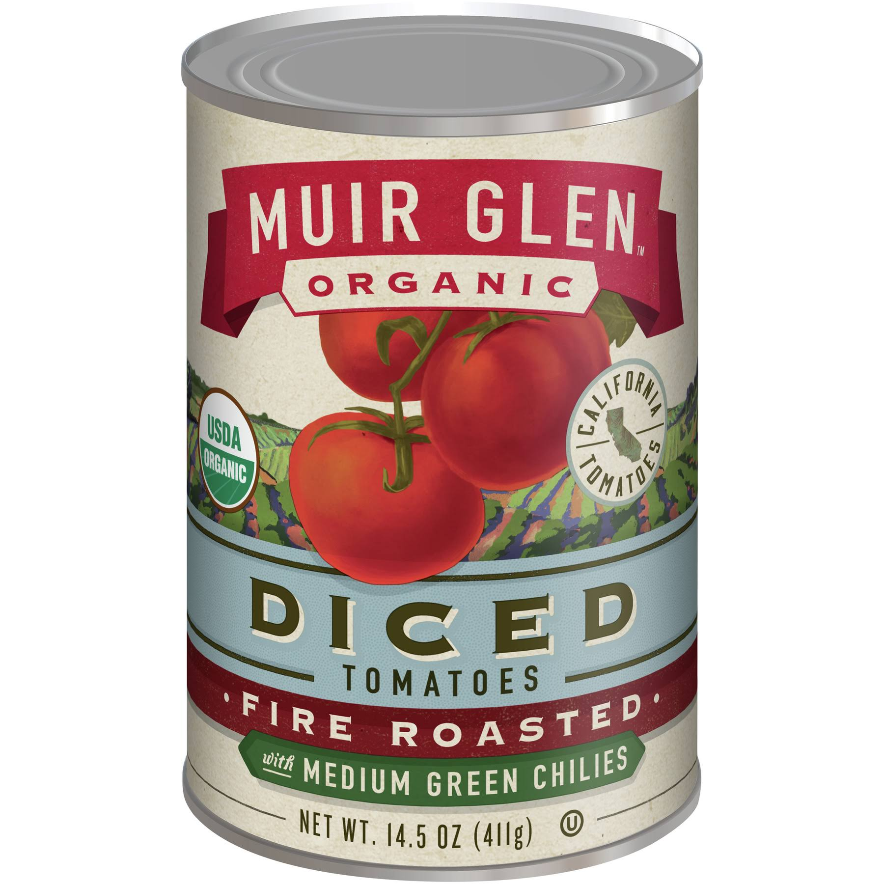 Muir Glen Organic Diced Tomatoes With Medium Green Chilles - Fire Roasted