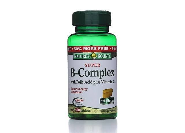 Nature's Bounty Super B-Complex With Folic Acid Plus Vitamin C - 150 Tablets