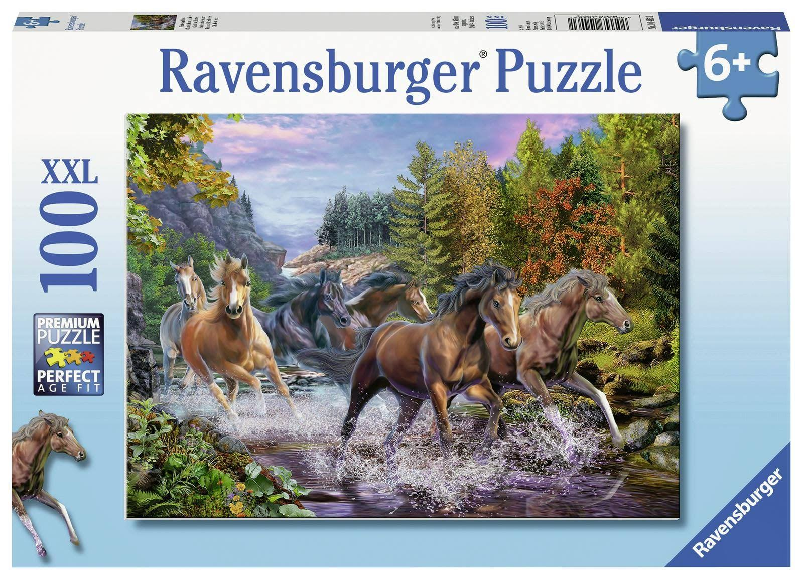 Ravensburger Rushing River Horses Jigsaw Puzzle - 100pcs, XX-Large
