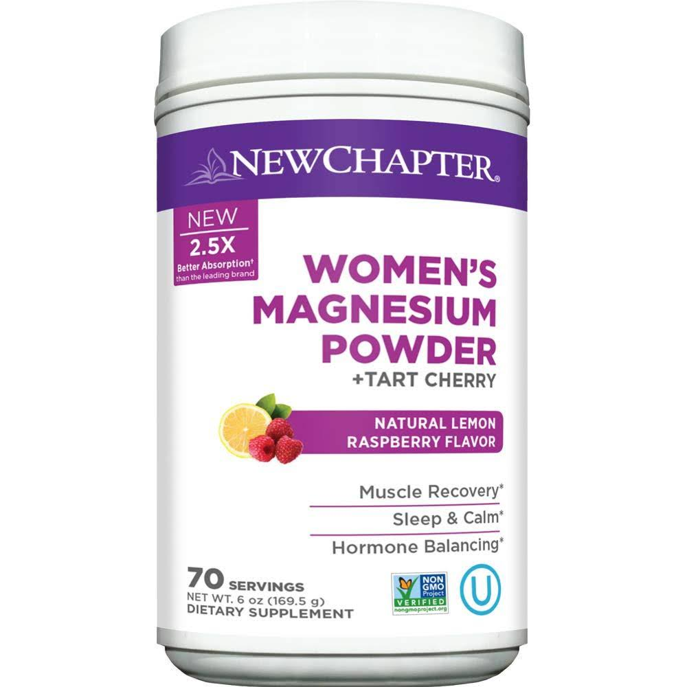 New Chapter Women's Magnesium Powder - Tart Cherry and Natural Lemon Raspberry, 70 Servings