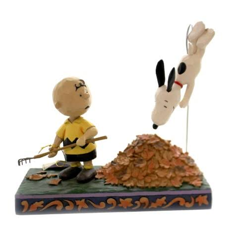 Jim Shore Jumping Into Fall - Charlie Brown, Snoopy in Leaves