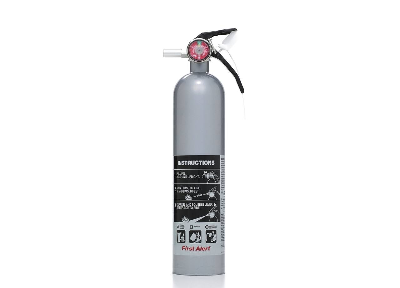 First Alert Designer Kitchen and Home Fire Extinguisher, Silver DHOME1
