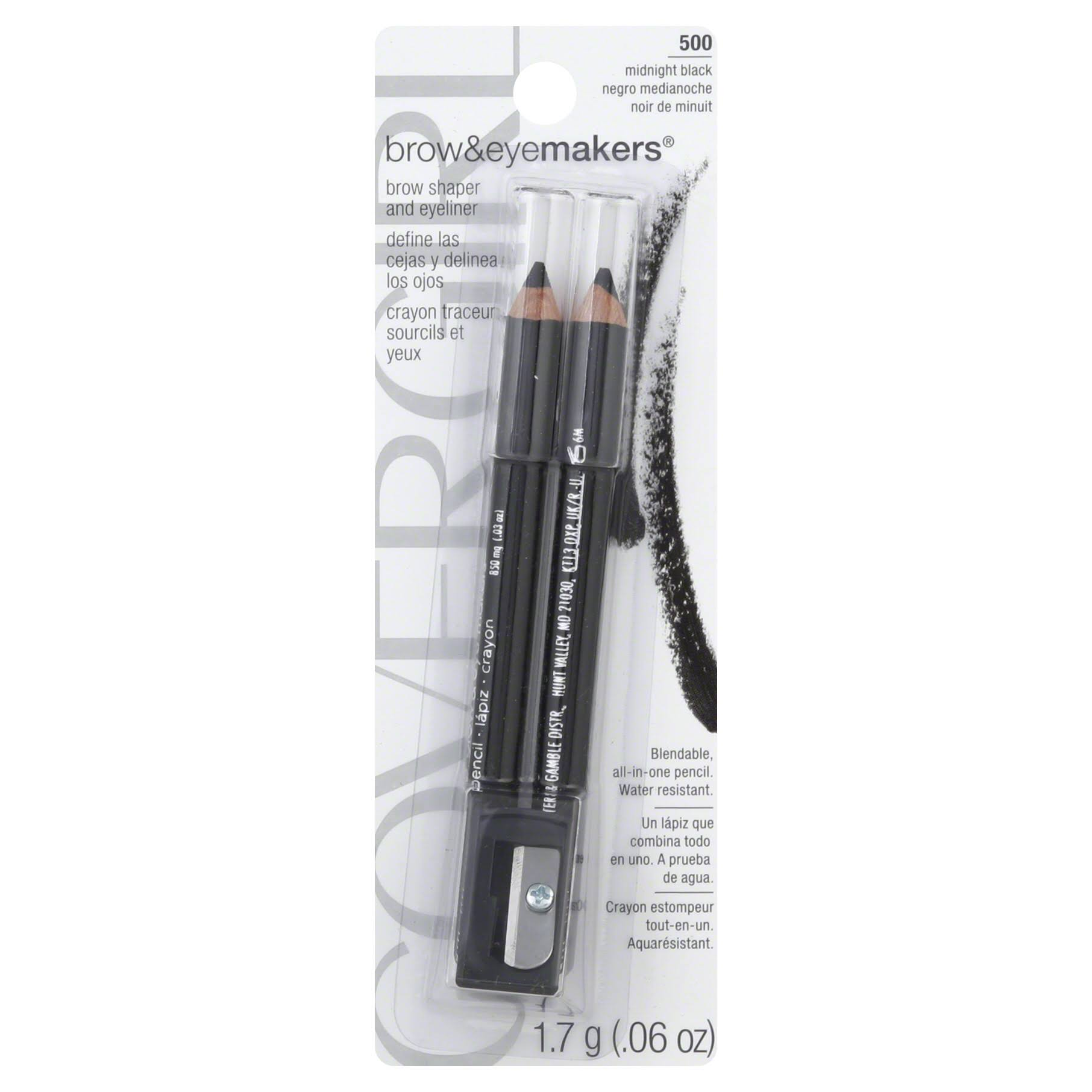 Covergirl Brow And Eye Makers Pencil - 500 Midnightblack, x2