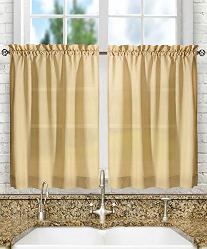 Ellis Curtain Stacey Solid Tier Curtains Almond