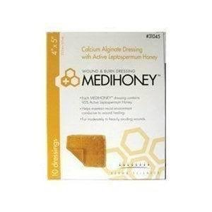 "Medihoney Calcium Alginate Wound and Burn Dressings - Honey, 4"" x 5"""