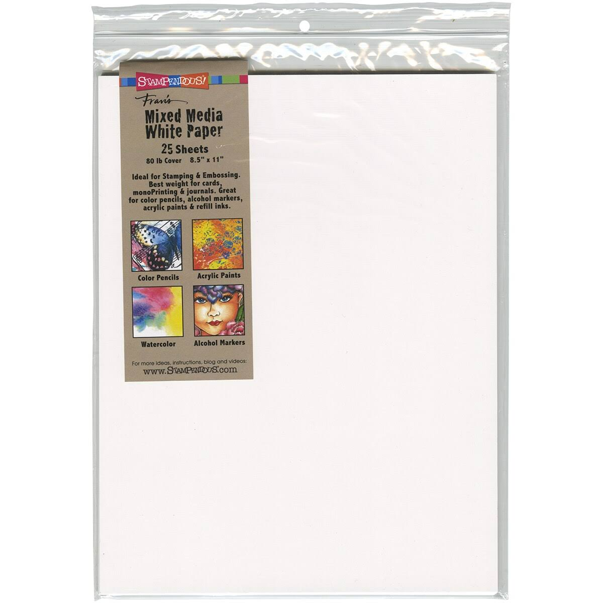 Stampendous White Mixed Media Paper - 8.5in x 11in, 25-Pack