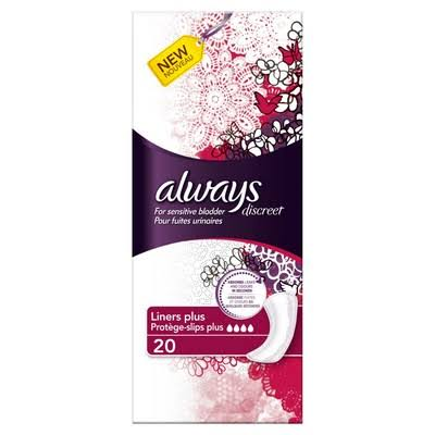 Always Discreet Incontinence Liners - Long Plus, 20pk, For Sensitive Bladder