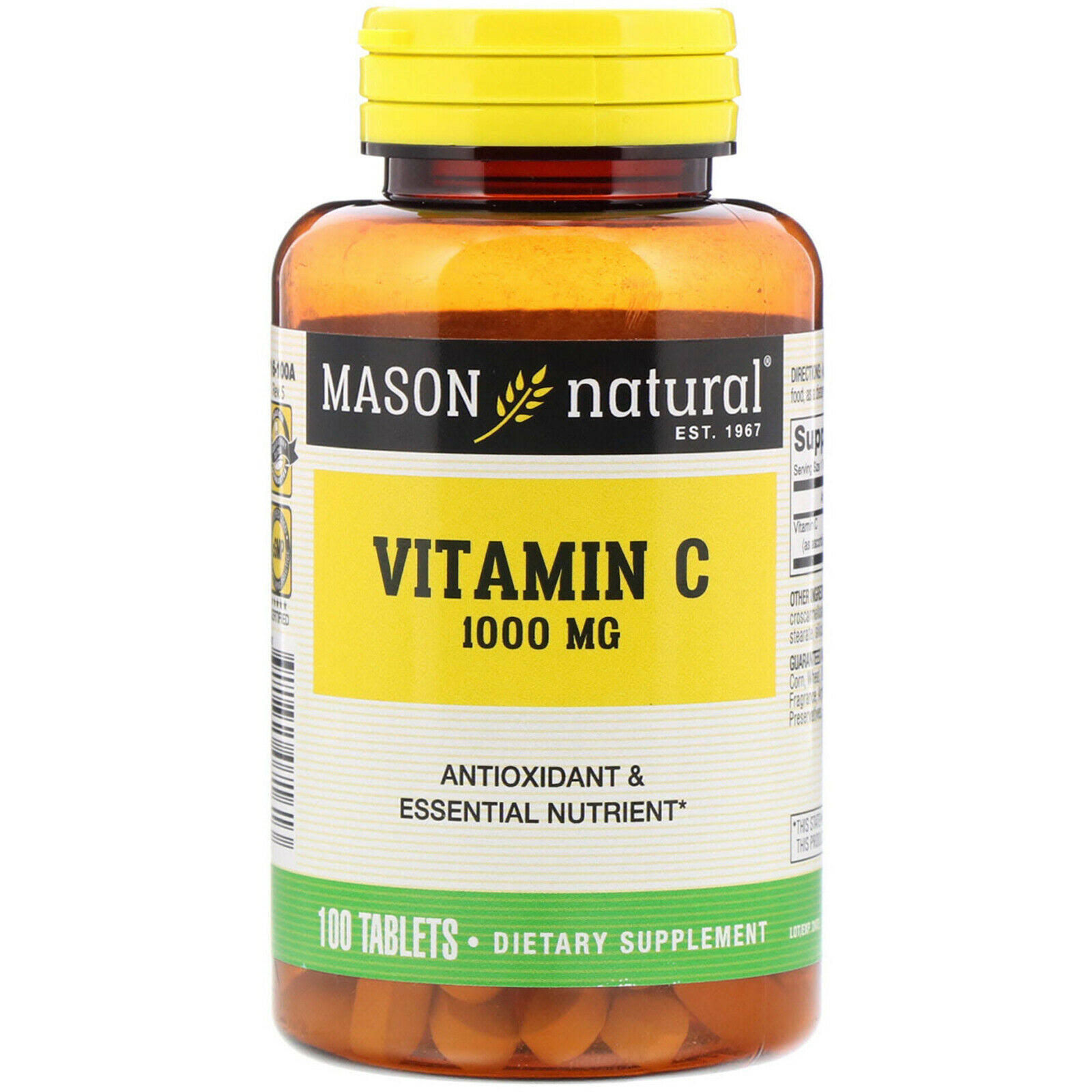 Mason Vitamins C 1000Mg Pure Ascorbic Acid Tablets - 100ct