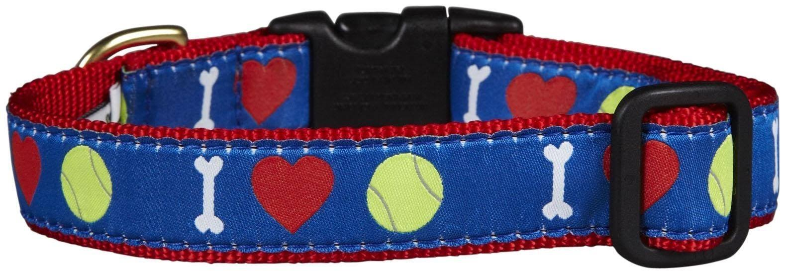 Up Country Tennis Ball Dog Collar - Blue and Red