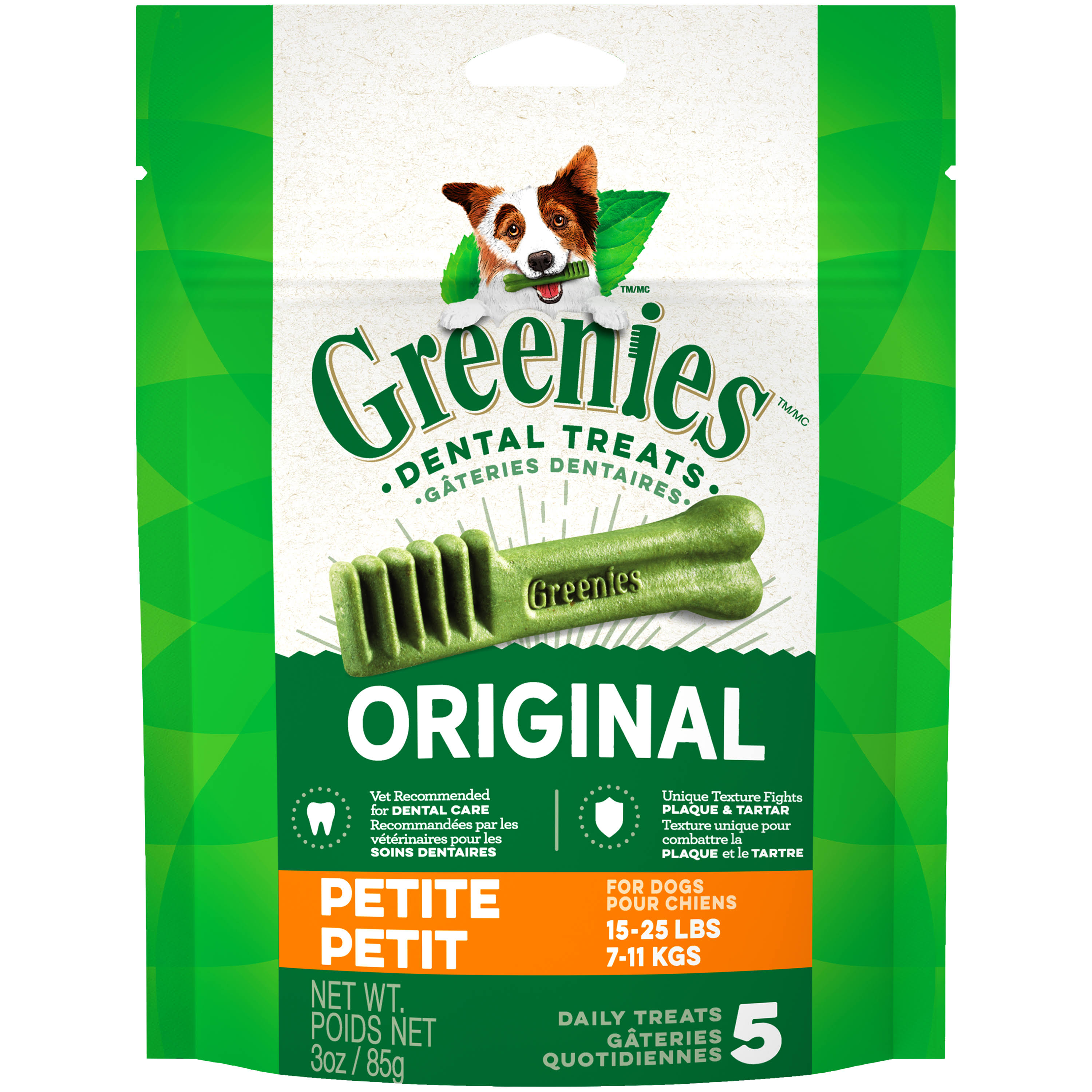 Greenies Original Petite Dog Dental Chews - 3oz, 5 Treats