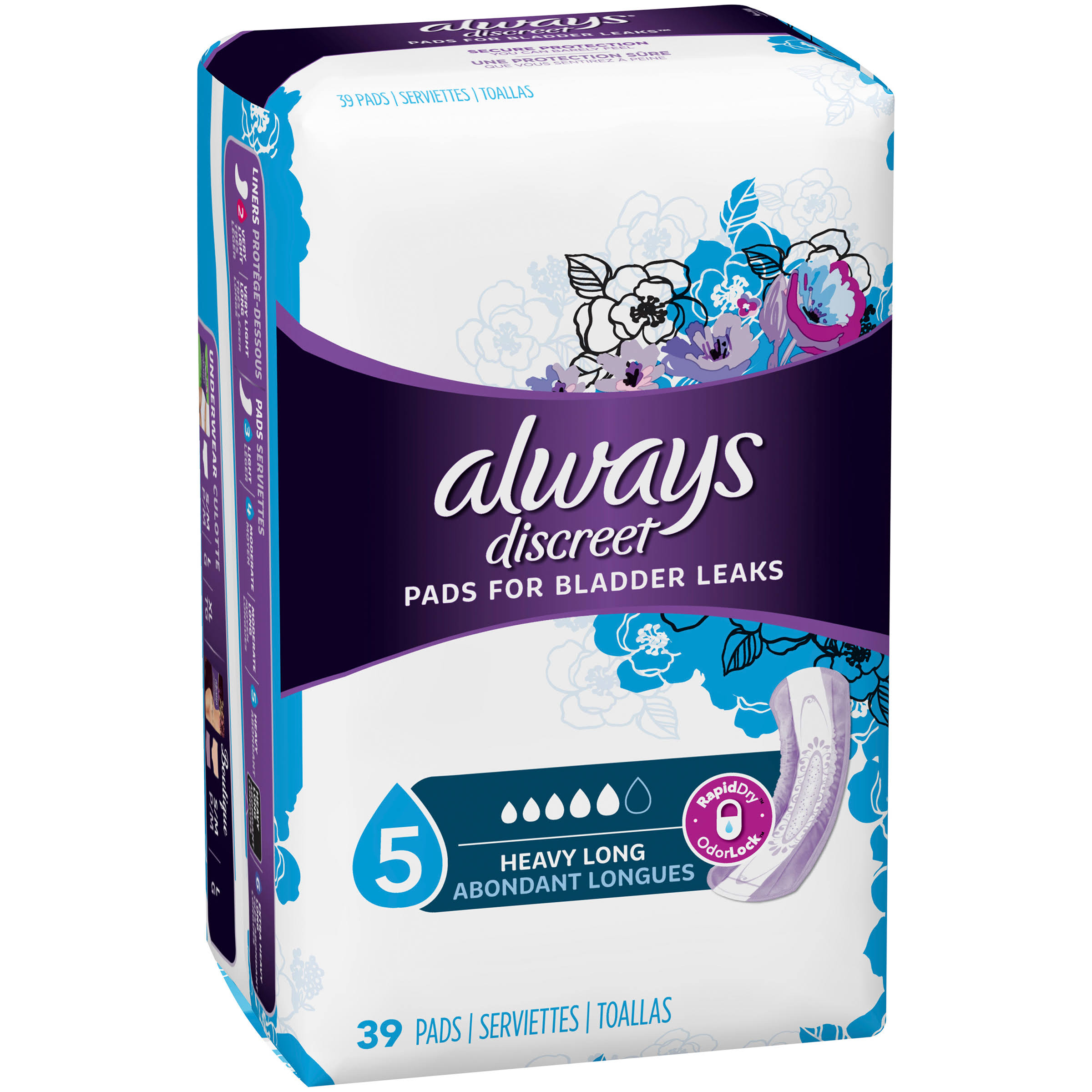 Always Discreet Bladder Protection Maximum Long Length Pads - 39pk