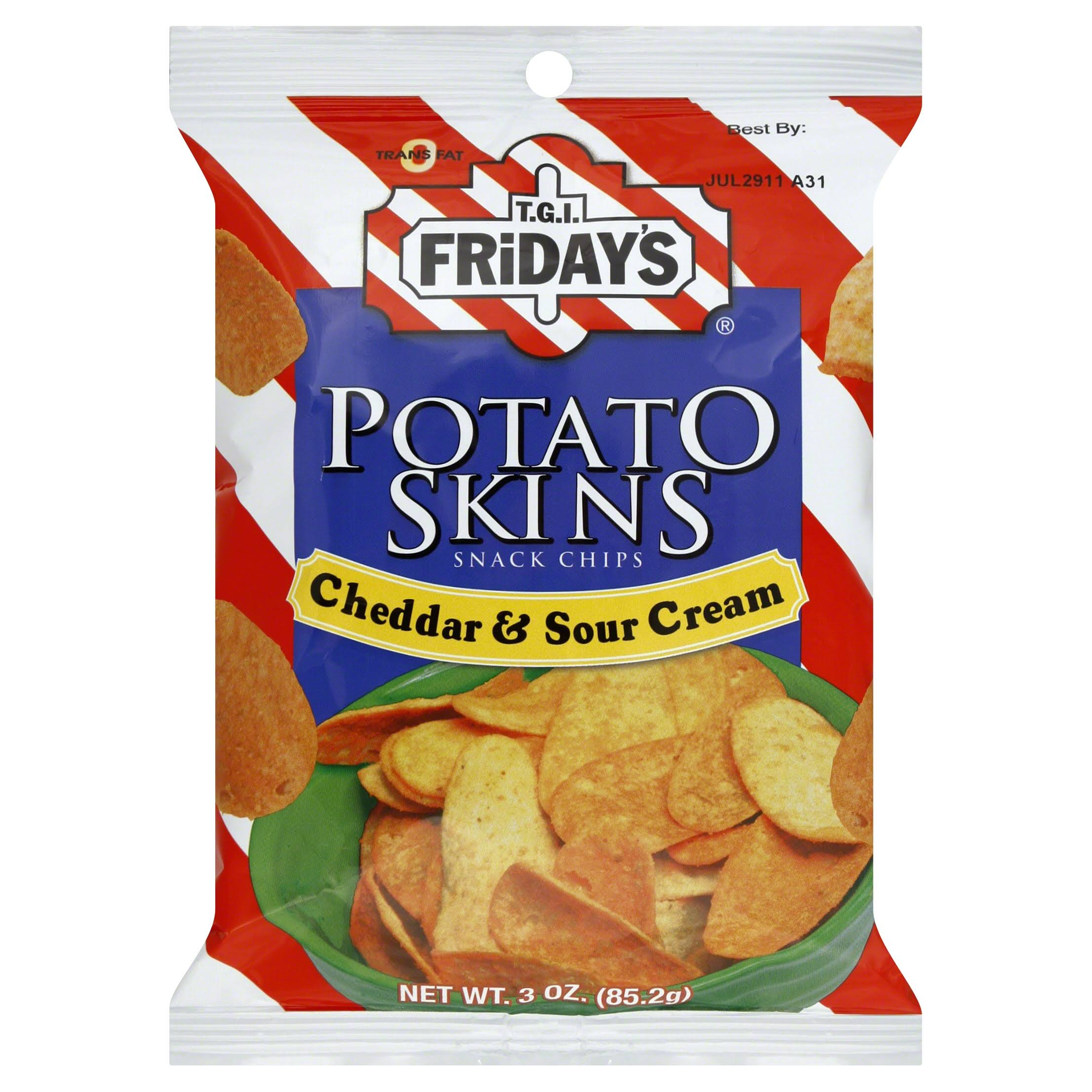 TGI Fridays Snack Chips, Potato Skins, Cheddar & Sour Cream - 3 oz