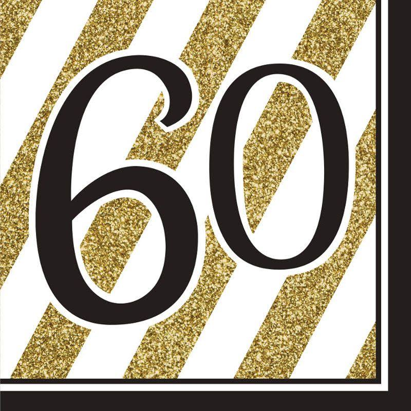 Black and Gold 60th Birthday Lunch Napkins