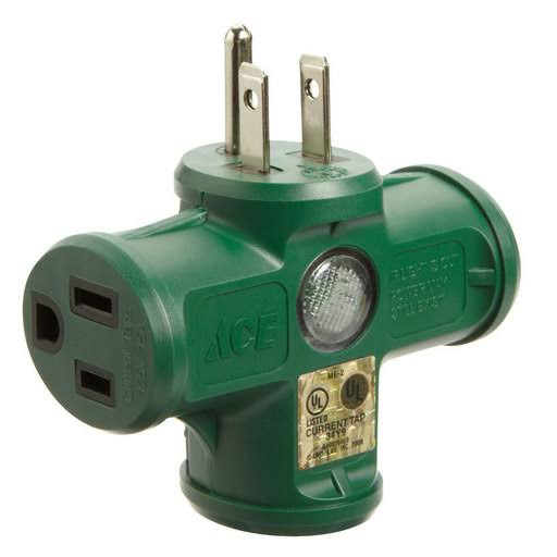 Ace Female Heavy Duty Triple Tap Outlet Adapter - Green