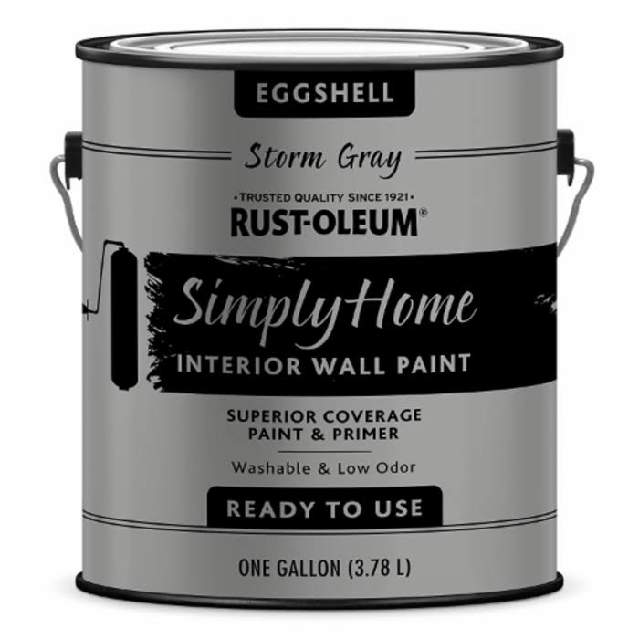 Rust-oleum 332143 Simply Home Eggshell Interior Wall Paint - Storm Gray, 1gal