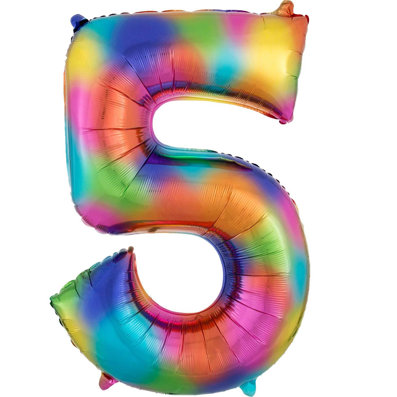 5 Rainbow Number Foil Balloon