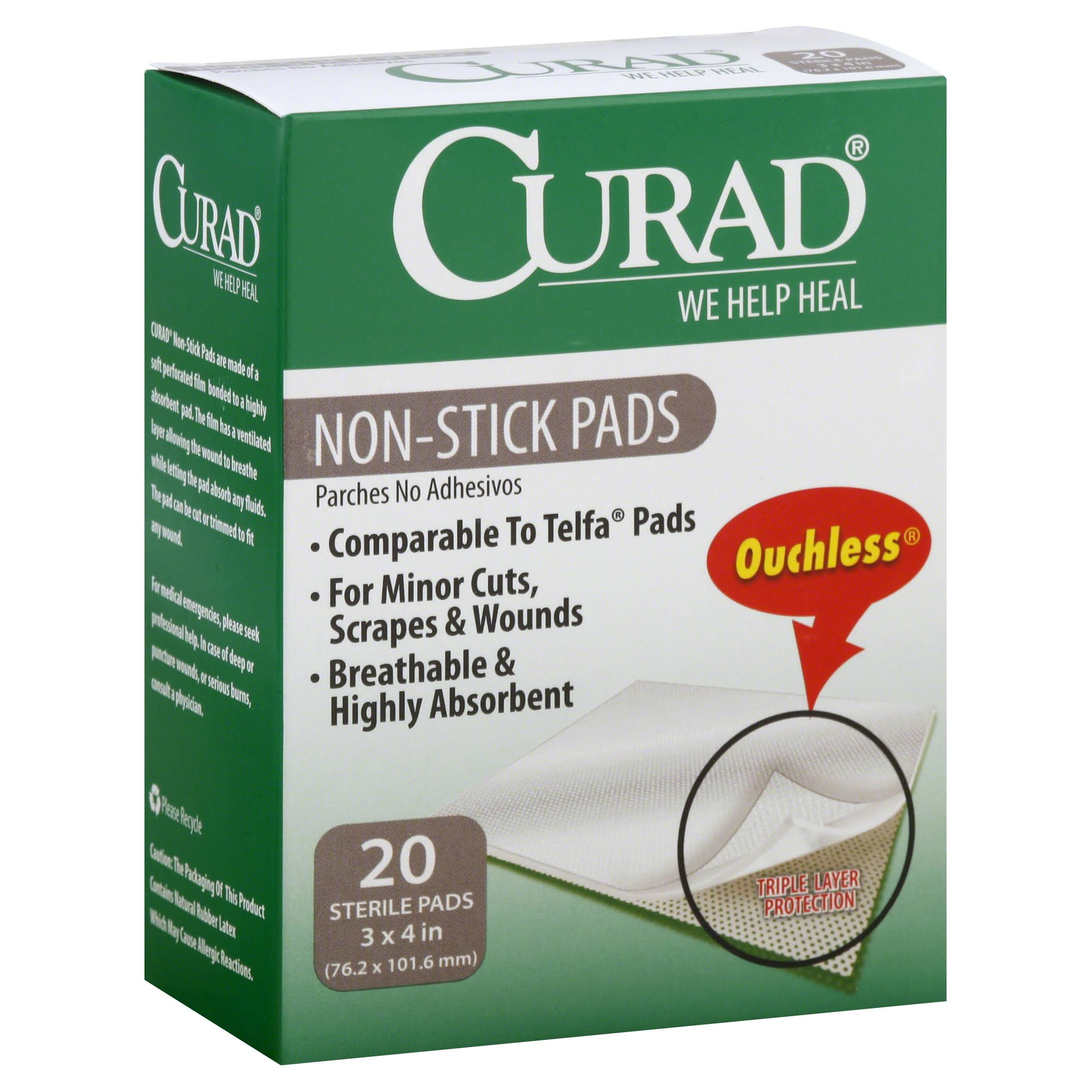 "Curad Non Stick Bandage Pads - 3"" X 4"", 20 Count"