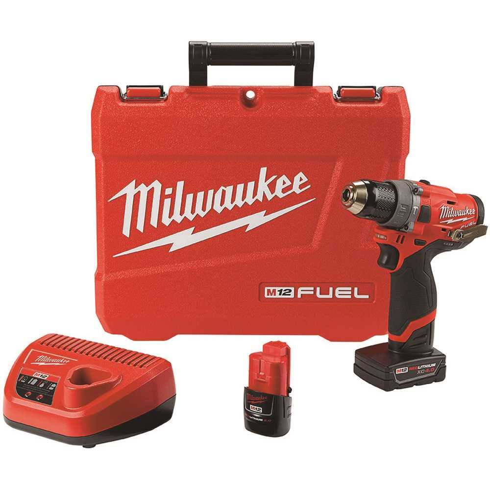 Milwaukee 2504-22 M12 Fuel Lithium Ion Hammer Drill Kit - with 4.0ah and 2.0ah Battery and Hard Case