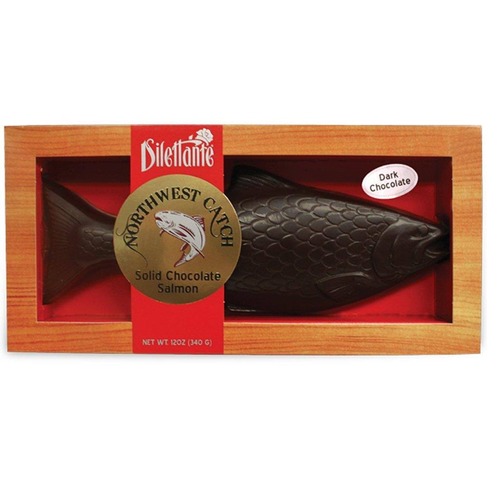 Dilettante Solid Chocolate Mold Dark Chocolate Salmon - 12oz