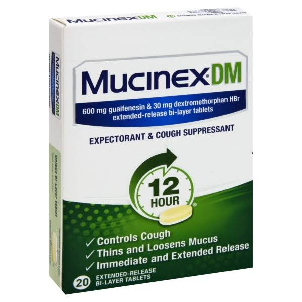 Mucinex Dm Expectorant & Cough Supressant Tablet - 12 Hour, 20 Tablets