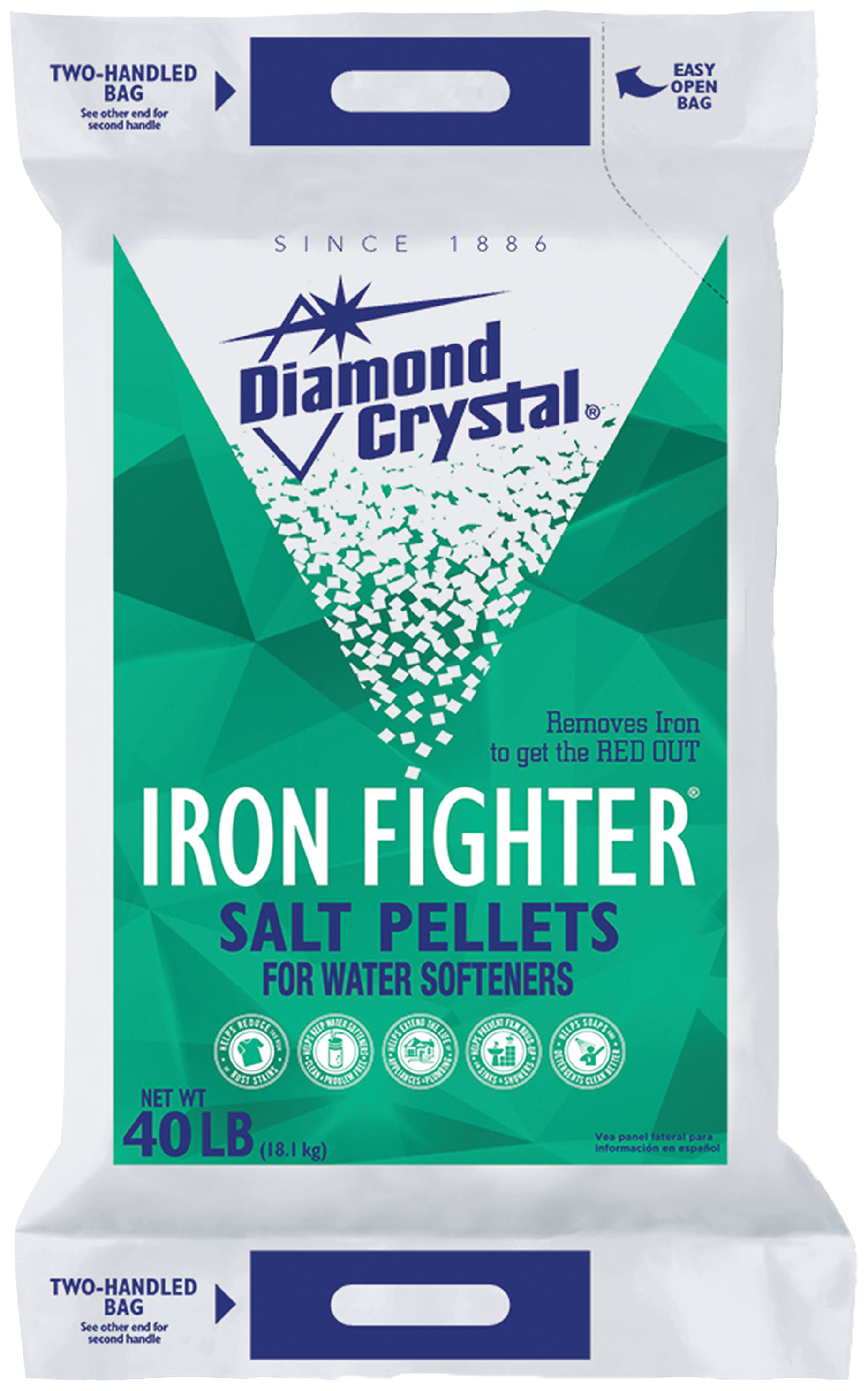 Diamond Crystal Iron Fighter Salt Pellets Bag - 40 lb