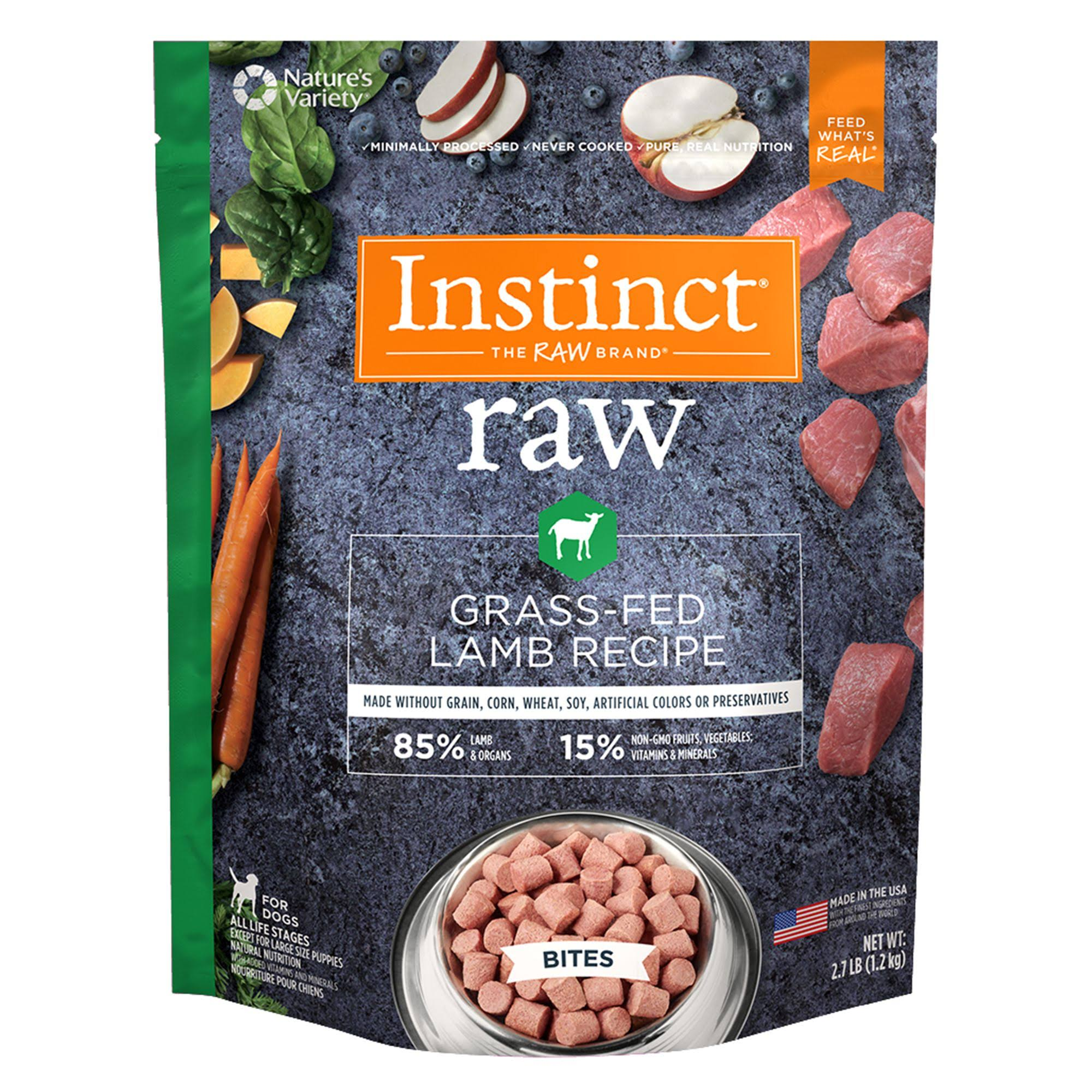 Instinct by Nature's Variety Frozen Raw Bites Grain-Free Grass-Fed Lamb Recipe Dog Food, 2.7-lb Bag