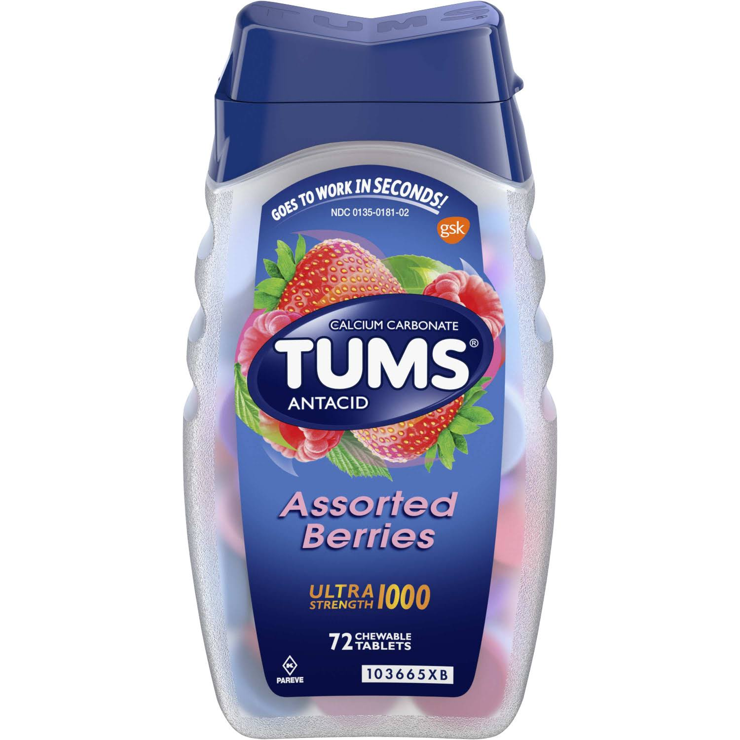 Tums Antacid Calcium Carbonate Assorted Berries