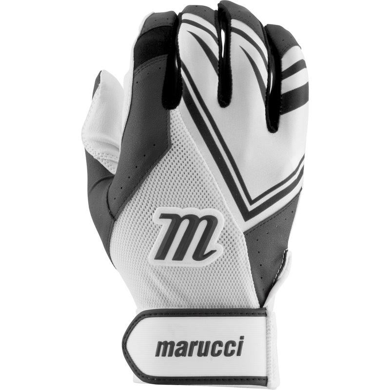 Marucci Adult F5 Batting Gloves - White/Black, 2XLarge