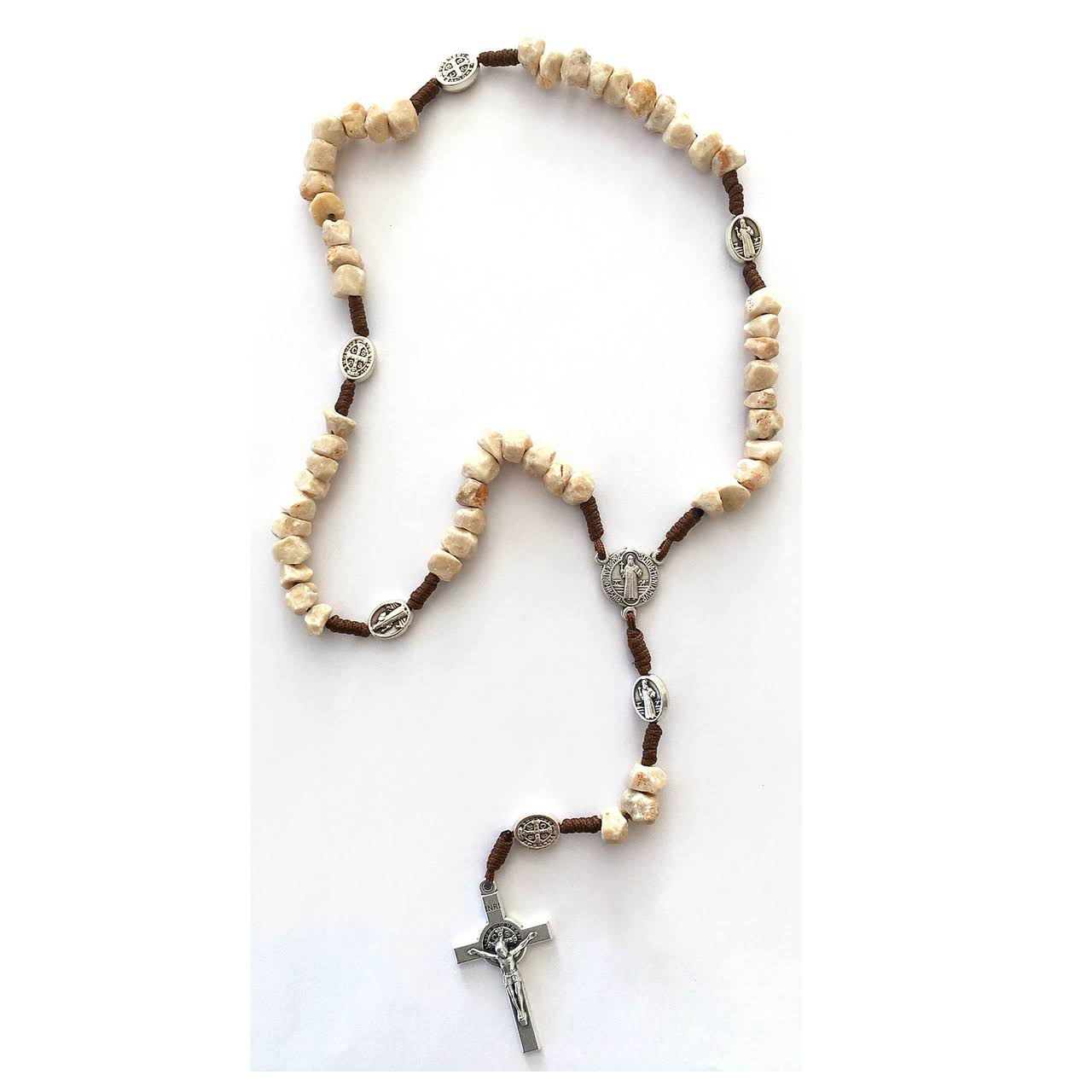Stone Beads Brown Cord/St Benedict Our Father Beads, Rosary