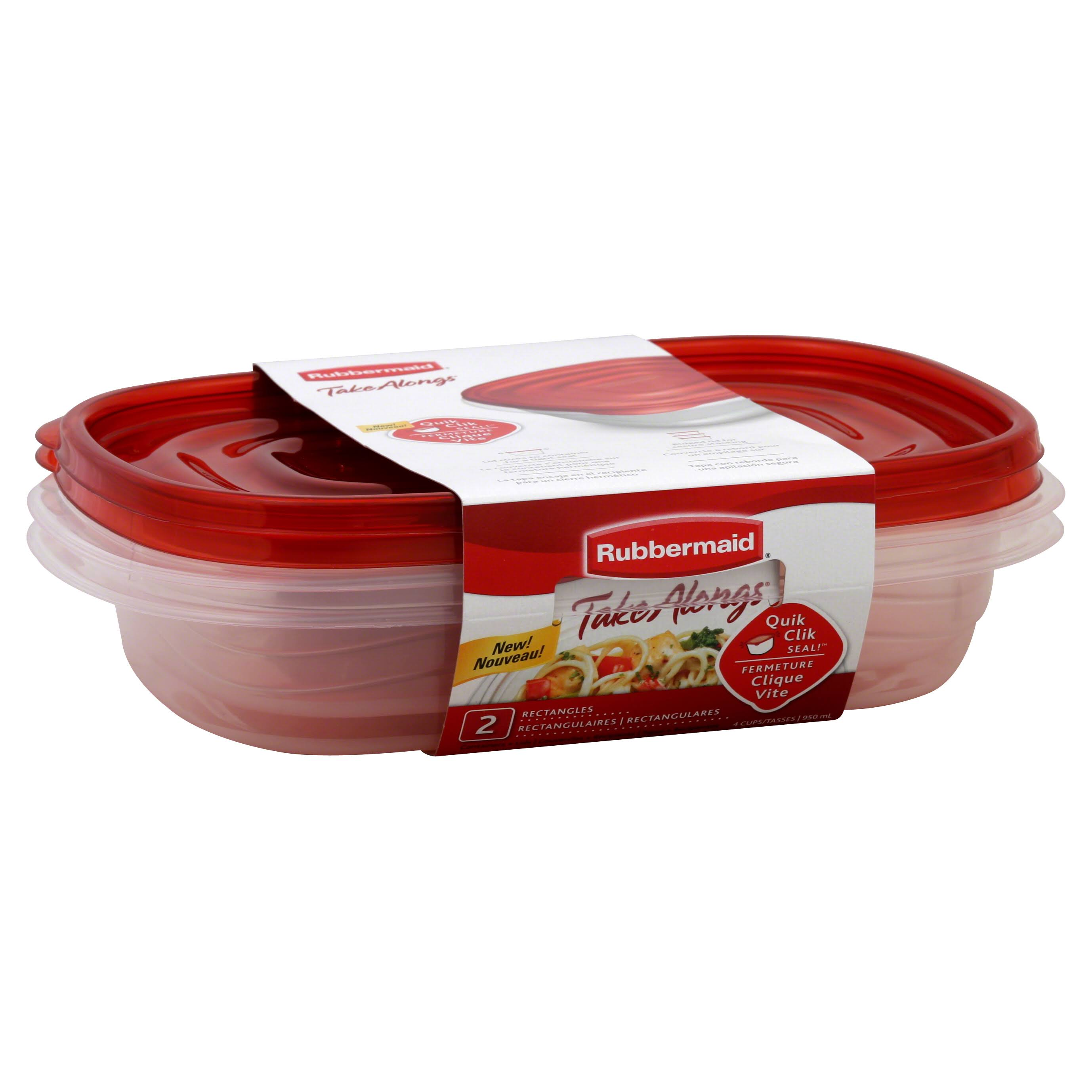Rubbermaid Takealongs Container - with Lids, Rectangles, 4Cups