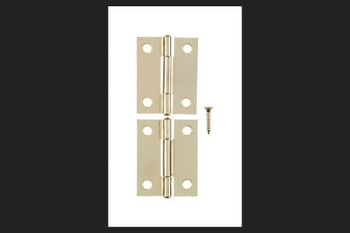 Ace L Narrow Hinge Bright Brass - 2 in