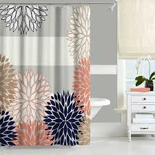 Coral Colored Decorative Items by Dahlia Shower Curtain Navy Blue Pink Gray Shower Curtain