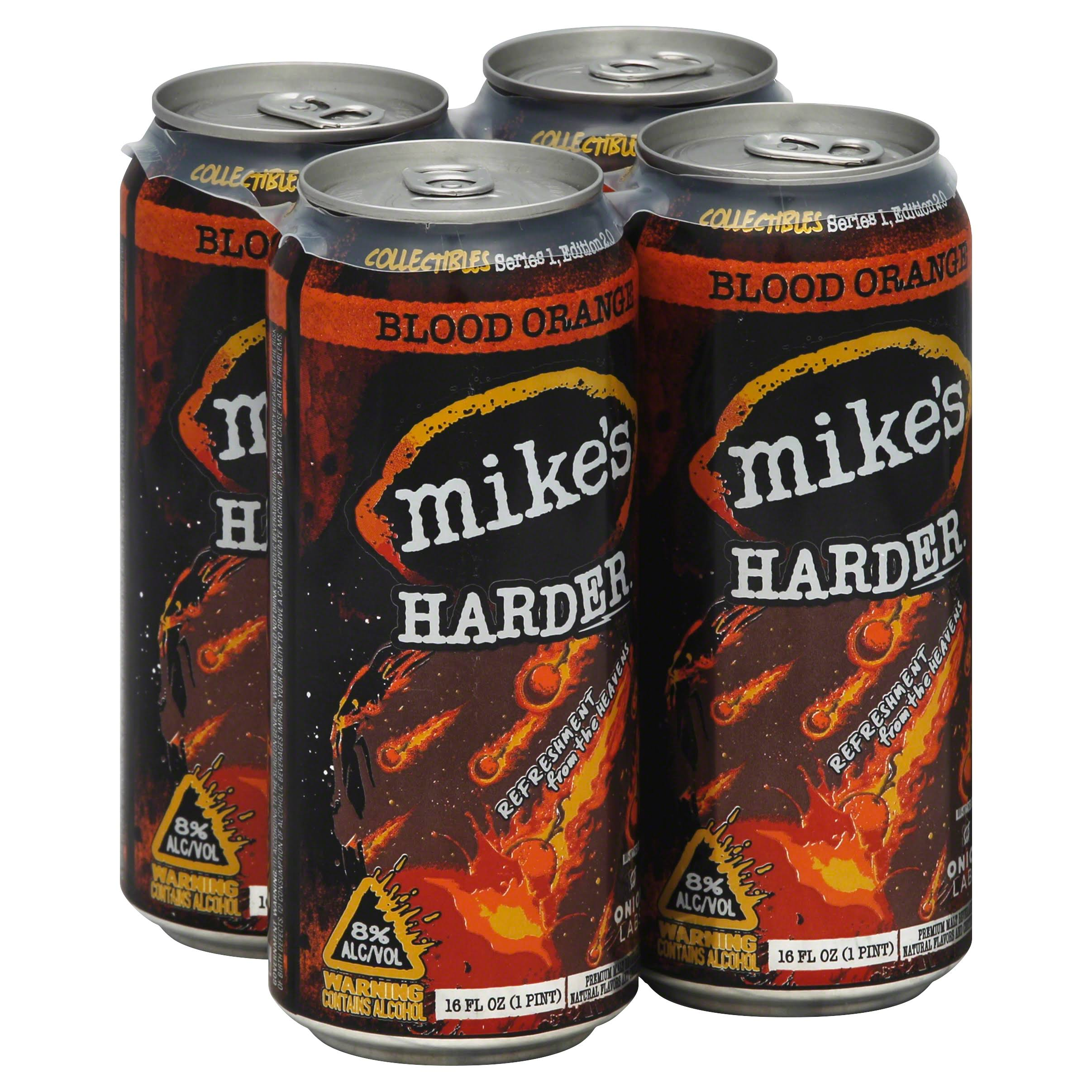 Mikes Malt Beverage, Premium, Harder Blood Orange - 4 pack, 16 fl oz cans