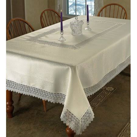 "Violet Linen Treasure Lace Tablecloth Ivory 70"" x 120"" Rectangle"