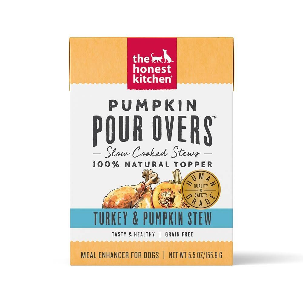 The Honest Kitchen Pour Overs Grain Free Turkey & Pumpkin Stew Recipe Food Topper for Dogs - 5.5-oz, Case of 12