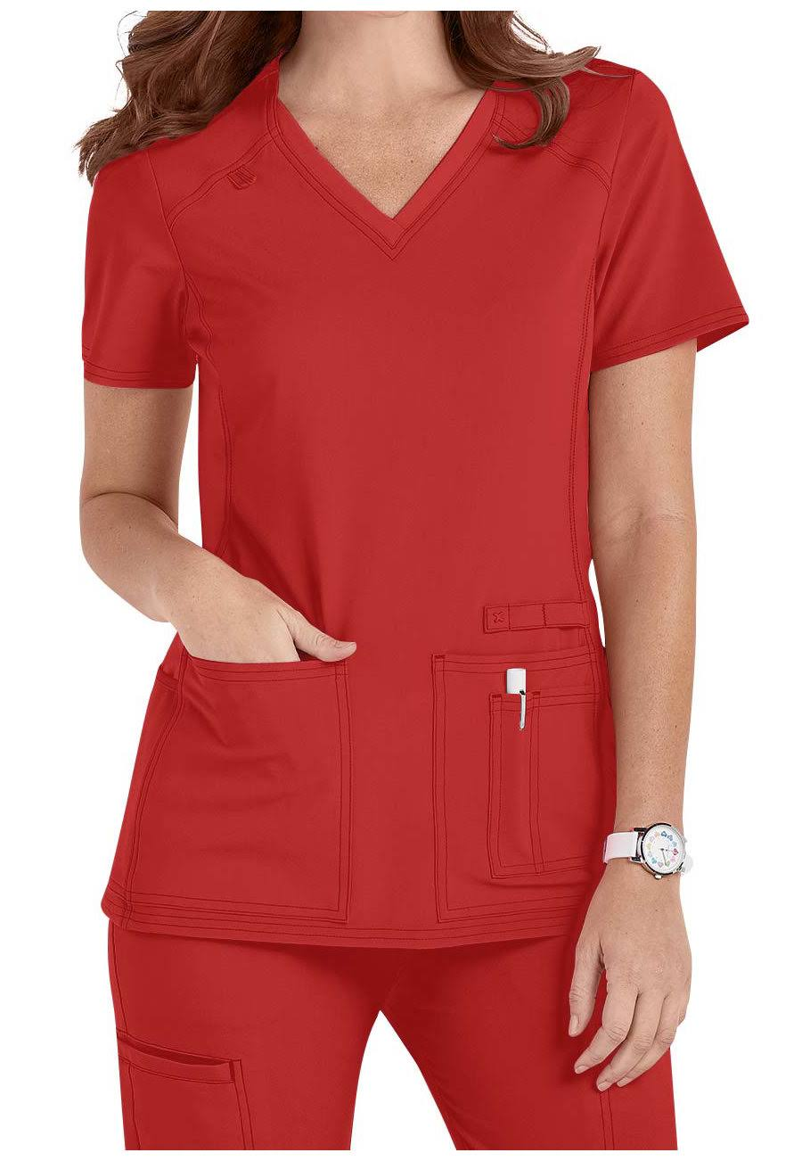 Cherokee CK605 V-Neck Knit Panel Top - Red - XL
