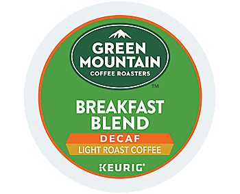 Green Mountain Breakfast Blend Decaf Coffee K Cups - 96/Carton