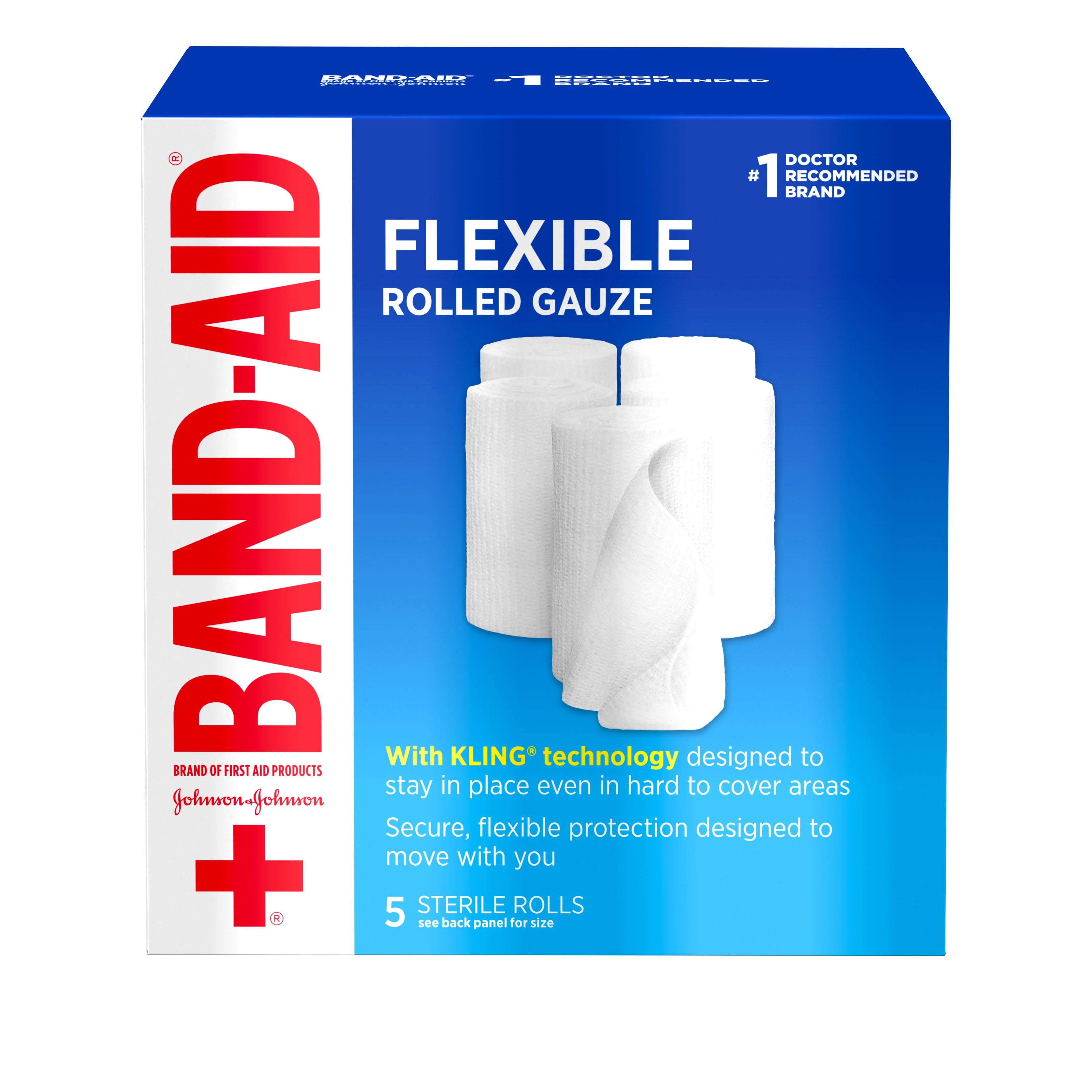 Band-Aid Rolled Gauze - 5 Sterile Rolls