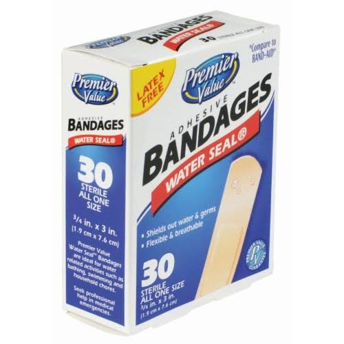 "Premier Value Waterseal Bandages - 3/4""x3"", 30ct"