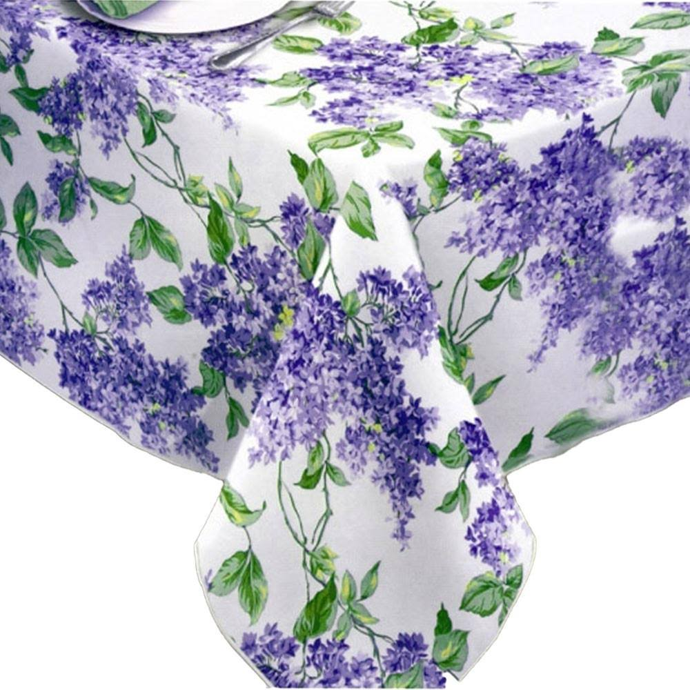 "Lintex Lilac Vinyl Tablecloth 70"" Round / White"