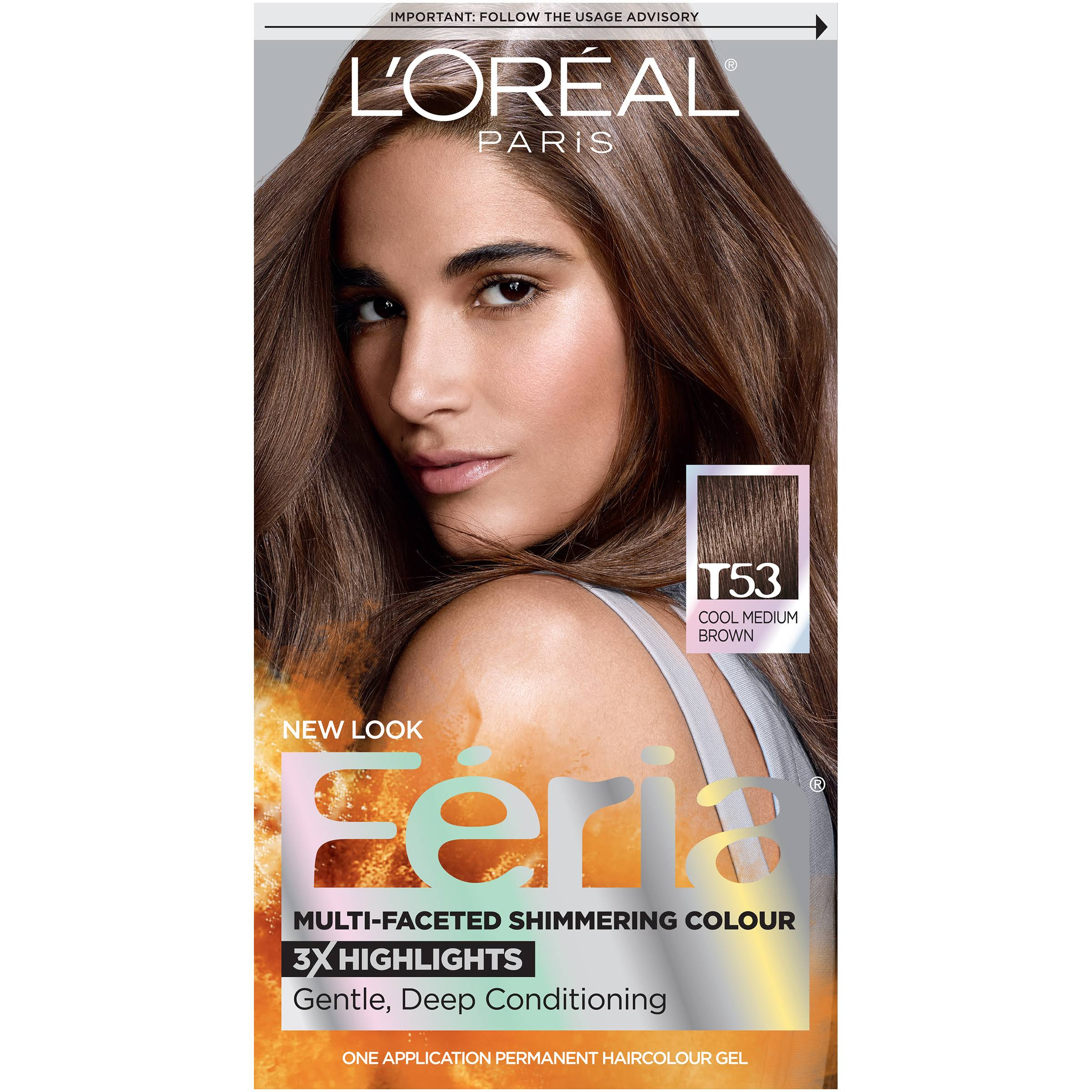 L'oreal Paris Feria Moonlit Tortoise Permanent Hair Color Gel - T53 Cool Medium Brown