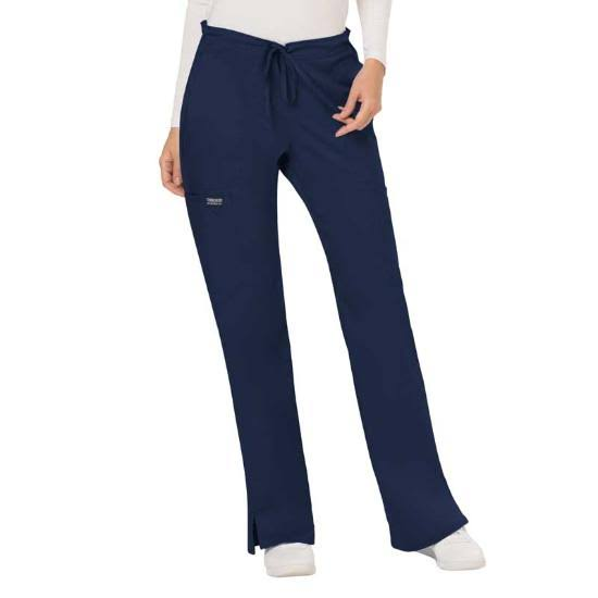 Cherokee Workwear Revolution Womens Mid Rise Moderate Flare Drawstring Pant - Navy (L)