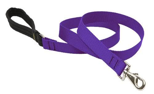 "Lupine Padded Handle Dog Lead - 1"" x 6', Purple"