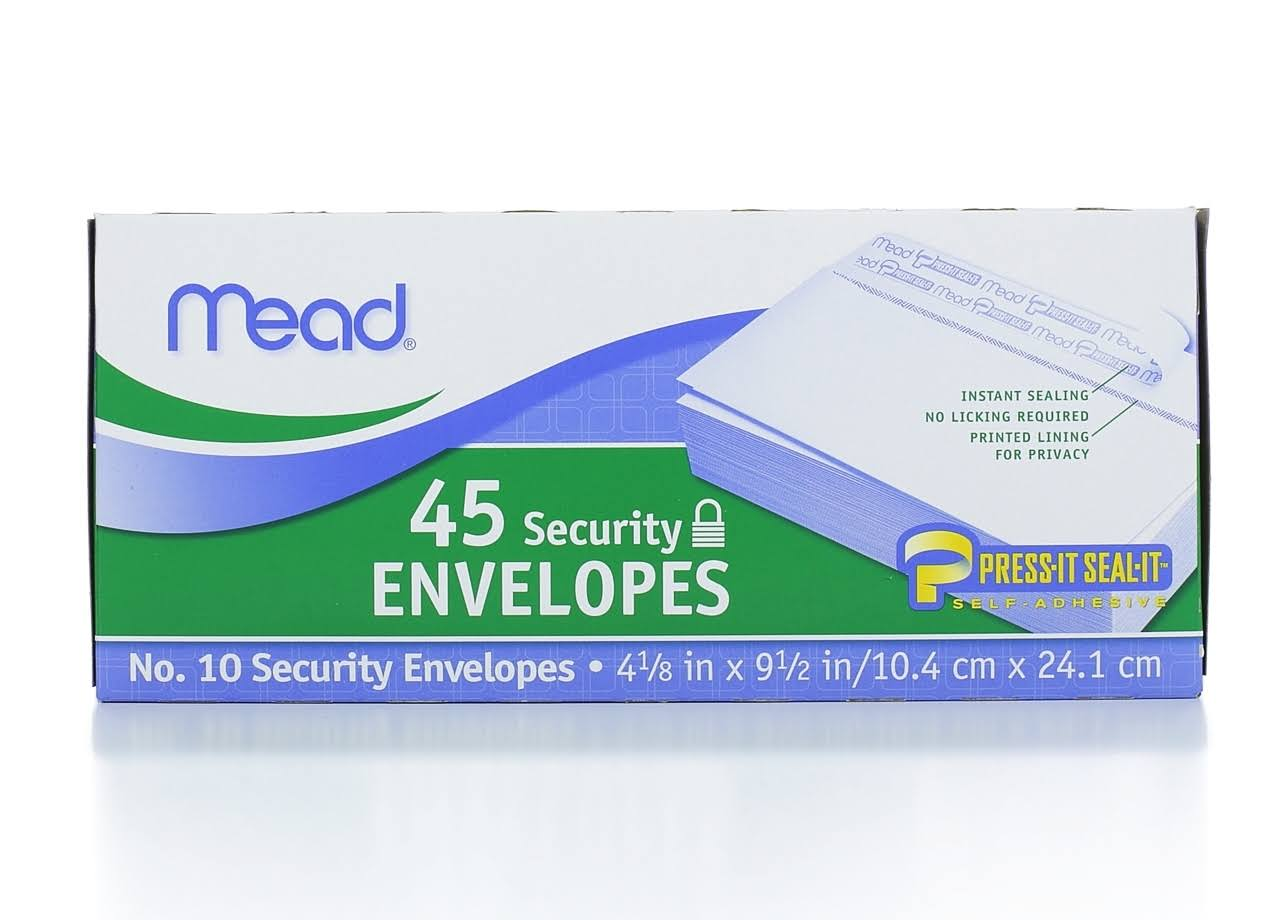 "Mead Press-it Seal-it Security Envelope - White, 20lbs, 4-1/8"" x 9-1/2"", x45"