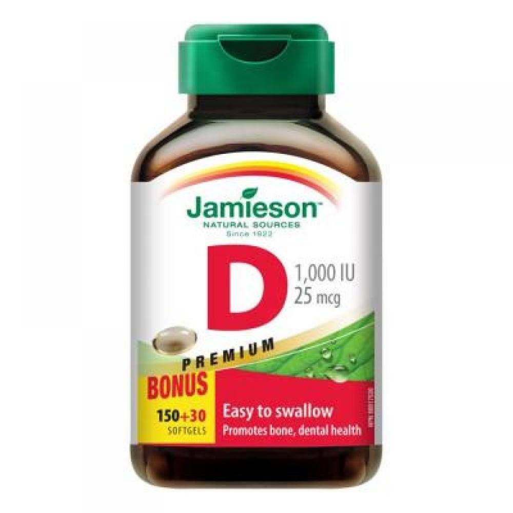 Jamieson Premium Vitamin D Softgels - 1,000 IU, 180ct