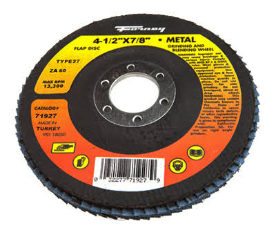 Forney Industries Type 27 Blue Zirconia Flap Disc - 4-1/2in x 7/8in, 60-Grit