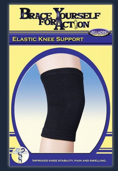 Bell-horn Elastic Knee Support - Black, Medium