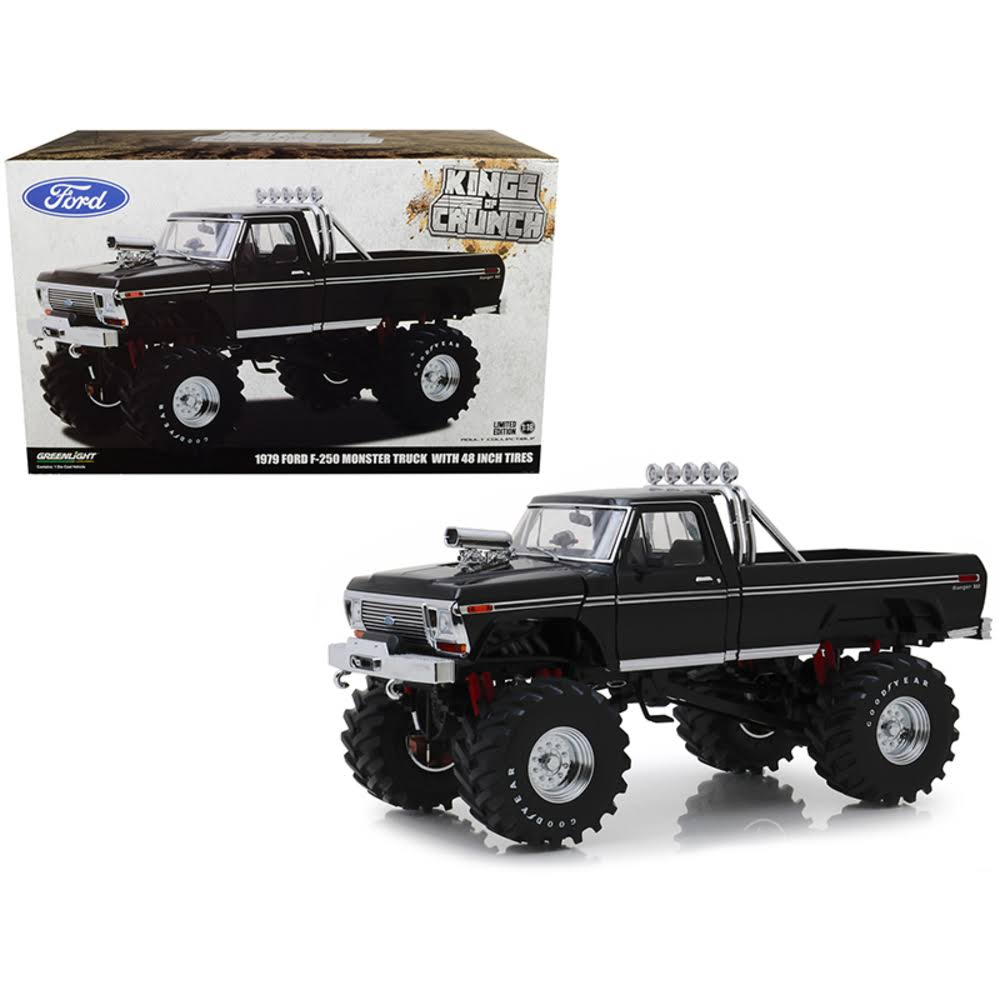 Greenlight 1979 Ford F-250 Ranger XLT Monster Truck Black with 48-inch Tires Kings of Cru