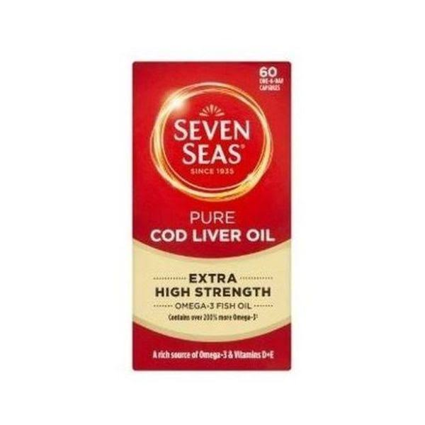 Seven Seas High Strength Pure Cod Liver Oil Capsules - With Omega 3, 60ct